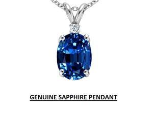 1.50CTW (8X6) Oval Genuine Sapphire and Diamond Pendant in .925 Sterling Silver