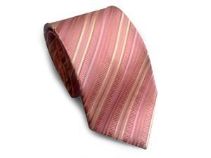 Paolo Davide Men's Woven Pink Striped Tie