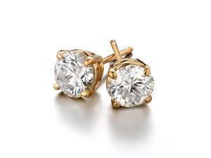 Sight Holder Diamonds 2.00 CTW Created Diamond Studs Earring Set - In 14K Yellow Gold