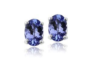 Sight Holder Diamonds 1.20ctw Genuine Tanzanite Oval Studs Set In Sterling Silver