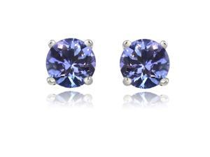 Sight Holder Diamonds 1.00ctw Genuine Tanzanite Earrings Set In Solid 14kt Gold