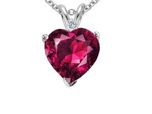 SightHolderDiamonds 4.00ctw Diamond & Lab Created Ruby Heart Pendant Set In Solid Sterling Silver