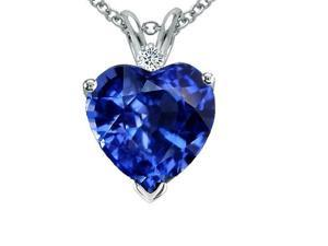 4.00 Ctw Lab Created Sapphire & Diamond Pendant In Sterling Silver