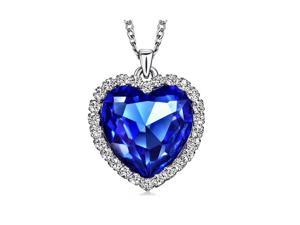 12.00ctw Lab Created Sapphire & Swarovski Pendant In Sterling Silver