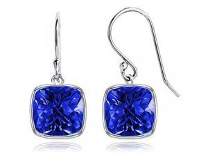 4.00 CTW Cushion Shaped Sapphire Drop Earrings in Solid Sterling S