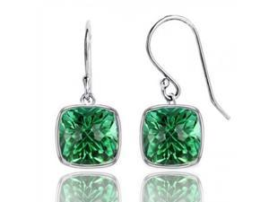 4.00 CTTW Cushion Shaped Emerald Drop Earrings in Solid Sterling Silver