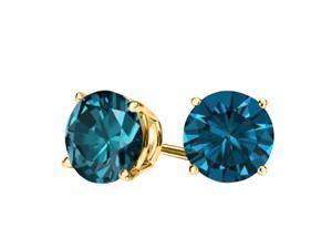 Sight Holder Diamonds 2.00 Ct London Blue Topaz Solid 14kt Gold Stud Earrings