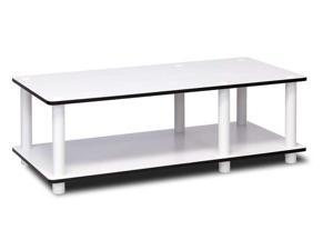 Furinno  11174WH(EX)/WH JUST No Tools Mid TV Stand, White Finish w/White Tube