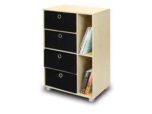 Furinno 11159SBE/BK Multipurpose Storage Cabinet w/4 Bin-Type Drawers, Steam Beech/Black
