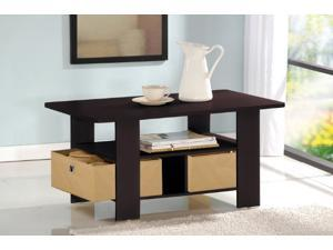 Furinno 11158EX/BR Coffee Table w/Bin Drawer - Espresso/Brown