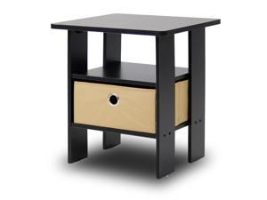 Furinno 11157EX/BR End Table Night Stand with Bin Drawer (Espresso/Brown)