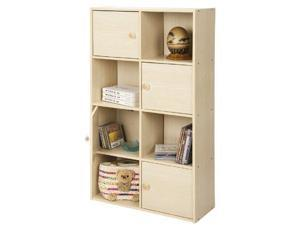 Furinno 11237SBE PASiR 4-Tier Shelf w/4 Door/Round Handle, Steam Beech