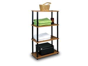Furinno 99557LC/BK Turn n Tube 4-Tier Multipurpose Shelf Display Rack, Light Cherry/Black