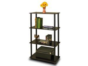 Furinno 99557EX/BK Turn n Tube 4-Tier Multipurpose Shelf Display Rack, Espresso/Black