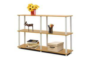 Furinno 99130BE/WH Turn n Tube 3-Tier Double Size Storage Display Rack, Beech/White