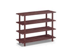 Furinno FNCJ-33005EX Pine Solid Wood 4-Tier Shoe Rack, Dark Cherry
