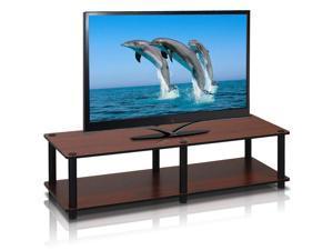 Furinno 11175DC(BK)/BK Just No Tools Wide TV Stand, Dark Cherry w/Black Tube
