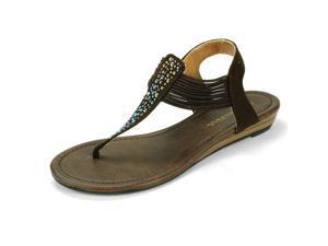 """Womens Rhinestone Sandals 1"""" Low Wedge Jeweled Thongs Multi Elastic Band T-Strap"""