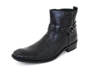 Mens Dress Boots Zipper Buckle Straps Biker Riding Fashion Shoes Size 6 7 Black
