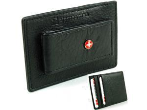 Alpine Swiss Money Clip Thin Wallet Real Leather Card Case Holds Up to 15 Bills