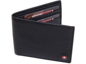 Alpine Swiss ASW174 Men's Leather Wallet - Flip Up ID Window, 11 Card Slots, 2 Bill Sections ID Window NW