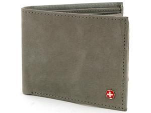 Alpine Swiss CC135-GRY Men's Luxury Pull up Leather Wallet - Bifold Removable ID Card Case