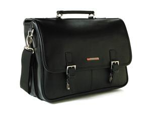 Alpine Swiss AS-9525 Leather Dressy Messenger Bag Flapover Buckle Portfolio