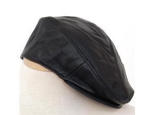 Mens Leather Versatile Cap 5 Point Ivy Newsboy Beret Cabbie Driver Flat Hat New
