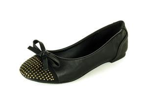 Womens Ballet Flats Slip On Gold Studded Toe Loafers Slide On Bow Detail Shoes