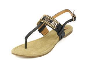 Alpine Swiss Women's Sandals T-Strap Rhinestone Suede Footbed Slingback Thongs