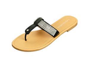 Women's Rhinestone Sandals T-Strap Thongs Slip On Flats Fashion Flip Flop Shoes