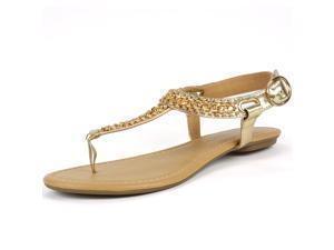 Womens Gladiator Sandals T-Strap Thong Slingback Flip Flop Gold Rhinestone Flats