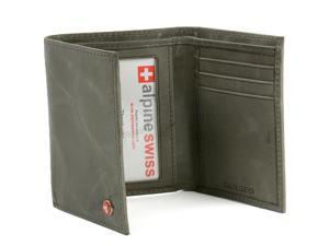 Alpine Swiss Mens Distressed Pullup Crunch Leather Wallet Trifold Suede Line