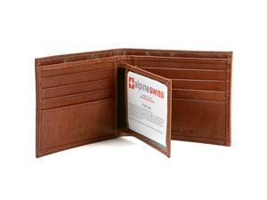 Alpine Swiss Men's RFID Blocking Leather Wallet Multi Card High Capacity Bifold