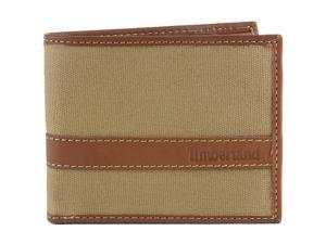 Timberland Hip Bifold Wallet Vaxed Canvas & Leather Trim Passcase Billfold Men's