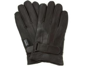 AlpineSwiss Men's Leather Gloves - Thermal Lining Wrist Strap Fastener Dressy Soft