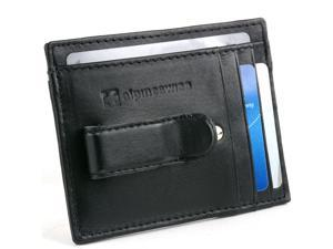 Mens Leather Wallet Money Clip Card Case AlpineSwiss Bifold Trifold Front Pocket