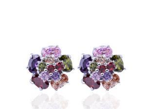 I. M. Jewelry Diamond Colorful Peony Earrings