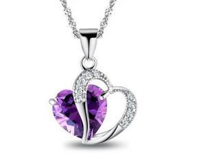I. M. Jewelry Heart Pendant with 25 x 20mm Heart Shape Simulated Amethyst Necklace