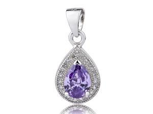 I. M. Jewelry Pear Pendant with 18X9mm Simulated Amethyst Necklace