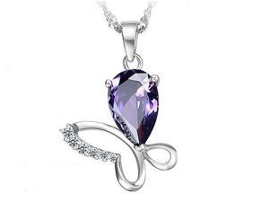 I. M. Jewelry Butterfly Pendant With 30 x 16mm Pear Shape Simulated Amethyst Necklace