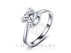 Sole with 1 carat simulated diamond Sterling Silver engagement Ring