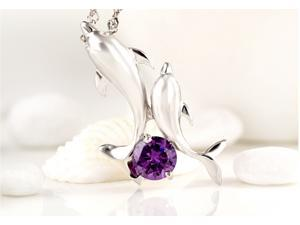 I. M. Jewelry Sterling Silver Dolphin Pendant Simulated Amethyst Necklace