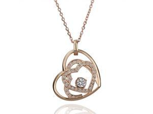 18K Rose Gold Plated SWAROVSKI ELEMENTS Crystal Pendant Necklace
