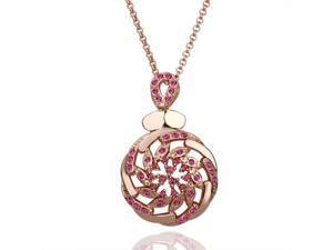 18K Rose Gold Plated Pink SWAROVSKI ELEMENTS Crystal Pendant Necklace