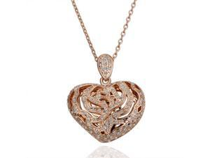 18K Rose Gold Plated Heart SWAROVSKI ELEMENTS Crystal Pendant Necklace