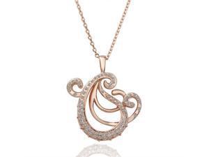 18K Rose Gold Plated Rhinstone Crystal Pendant Necklace