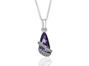 """Spring Dream: 18 Karat Gold Plated Amethyst Pendant with 18"""" Chain"""