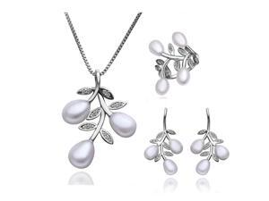 18K gold plated CZ Freshwater Pearl 3 piece jewelry set