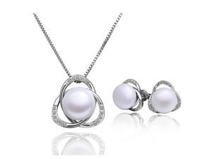 18K gold plated CZ Freshwater Pearl 2 piece jewelry set
